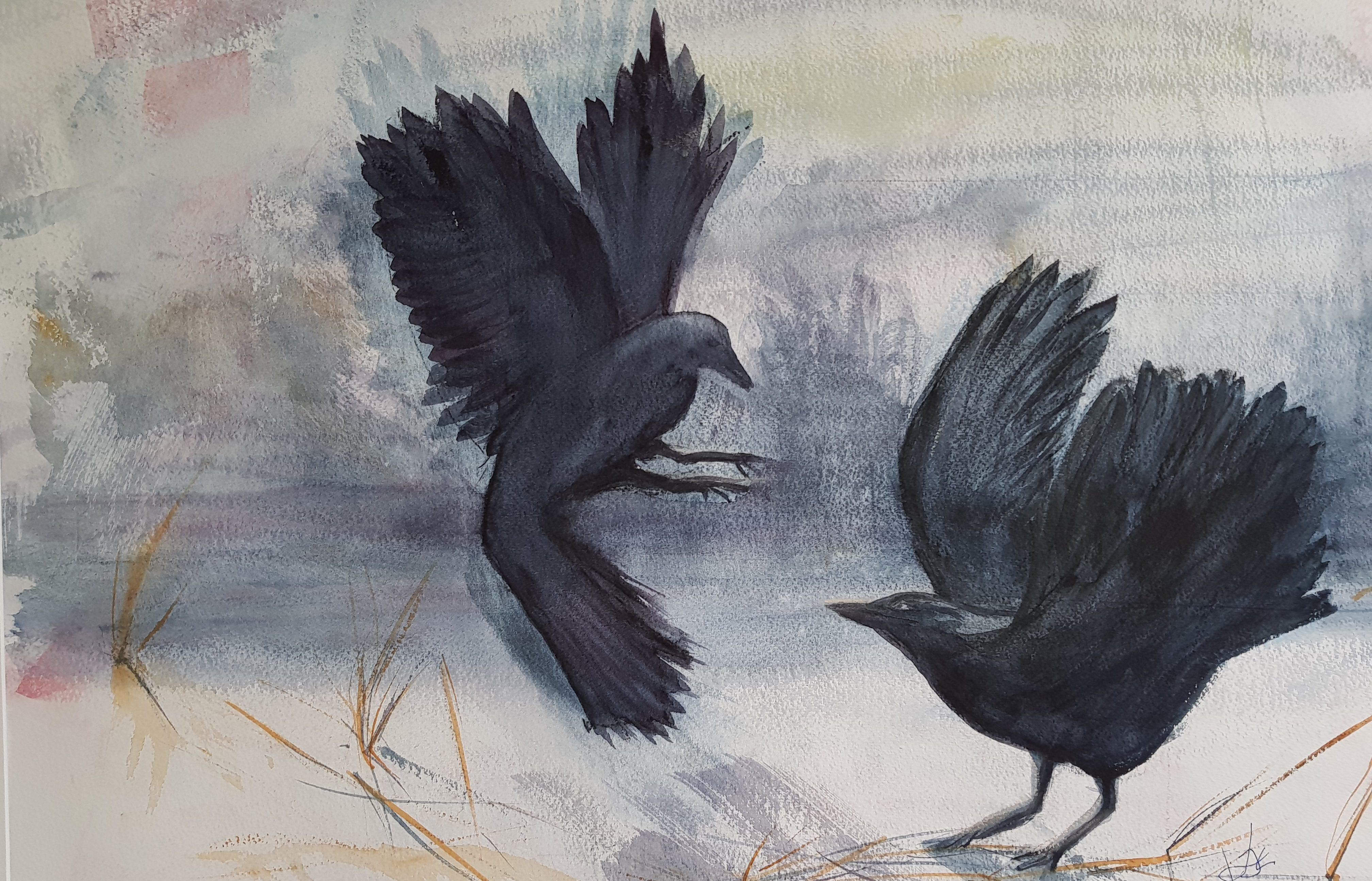The Crows: Watercolour on Paper, Framed, 72 x 53, £150