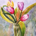 Tulipaner: Watercolour on paper, Framed, £50