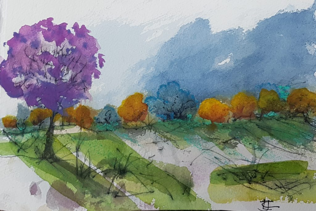 Towards Wrekin: Watercolour on Paper