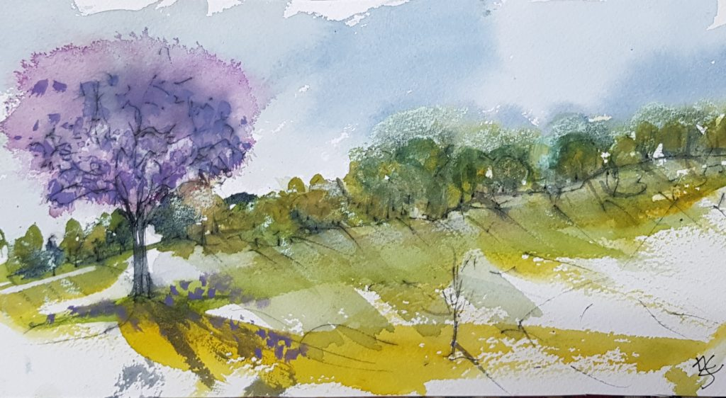Towards the Pond: Watercolour on Paper